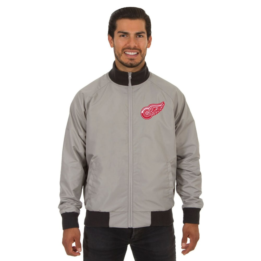 DETROIT RED WINGS Men's Reversible Embroidered Track Jacket - SLATE GRAY