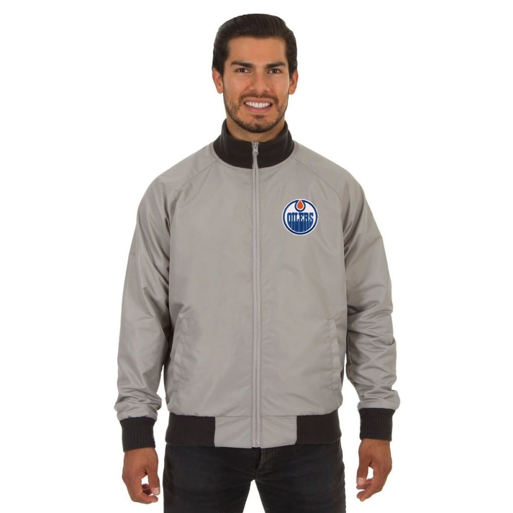 EDMONTON OILERS Men's Reversible Embroidered Track Jacket - SLATE GRAY