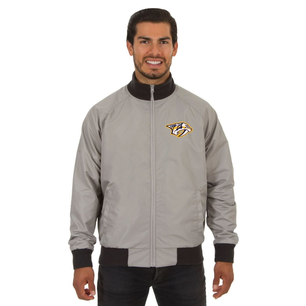 NASHVILLE PREDATORS Men's Reversible Embroidered Track Jacket - SLATE GRAY