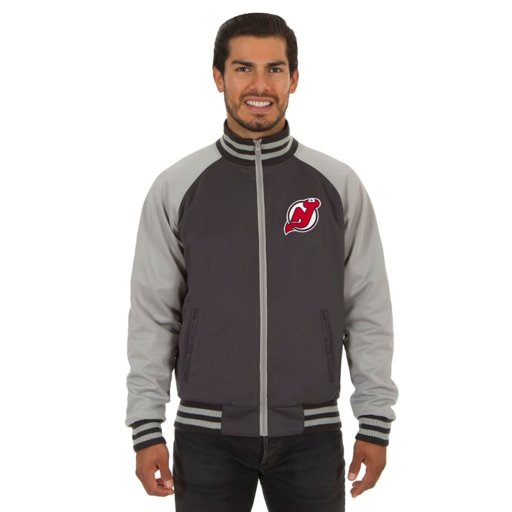 NEW JERSEY DEVILS Men's Reversible Embroidered Track Jacket - SLATE GRAY