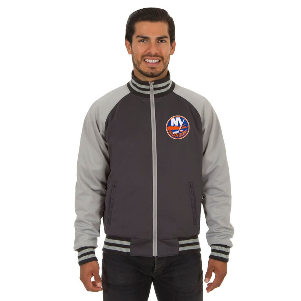 NEW YORK ISLANDERS Men's Reversible Embroidered Track Jacket - SLATE GRAY