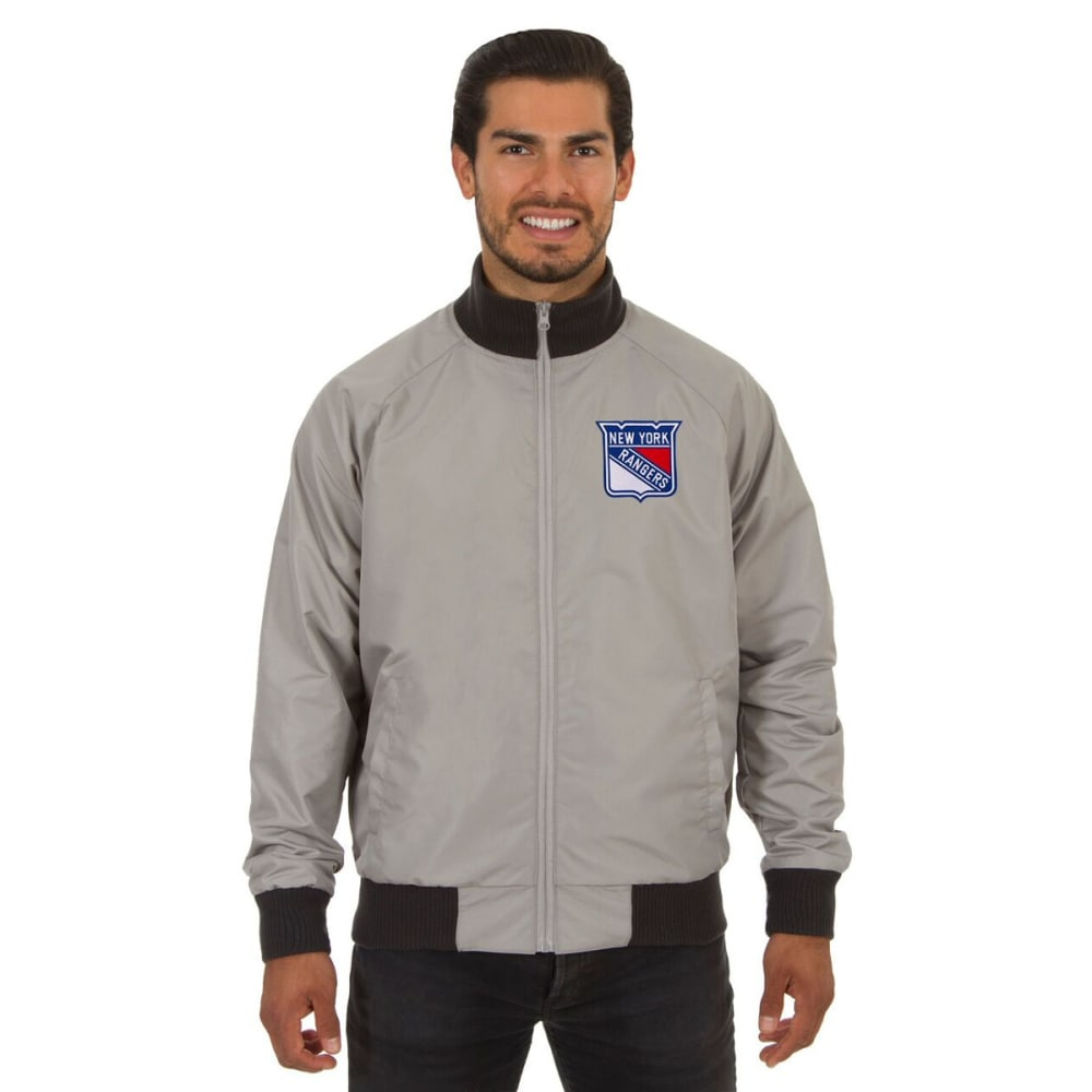 NEW YORK RANGERS Men's Reversible Embroidered Track Jacket - SLATE GRAY