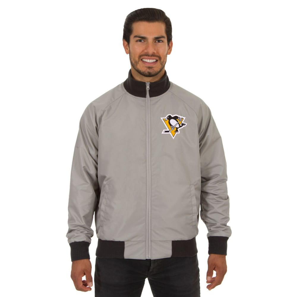 PITTSBURGH PENGUINS Men's Reversible Embroidered Track Jacket - SLATE GRAY