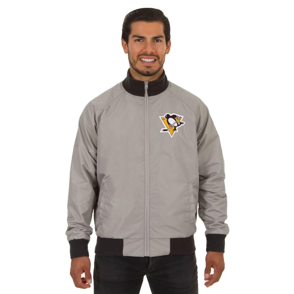 PITTSBURGH PENGUINS Men's Reversible Embroidered Track Jacket - SLATE GRAY