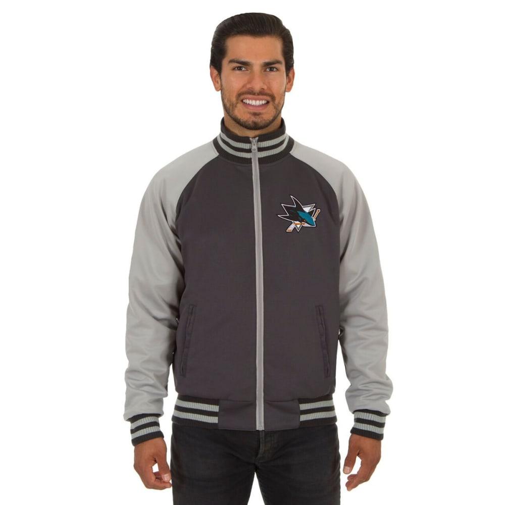 SAN JOSE SHARKS Men's Reversible Embroidered Track Jacket - SLATE GRAY