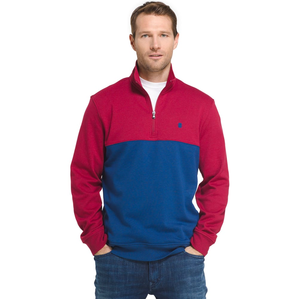 IZOD Men's Advantage Performance Color-Block ¼-Zip Fleece Pullover - 620-BIKING RED