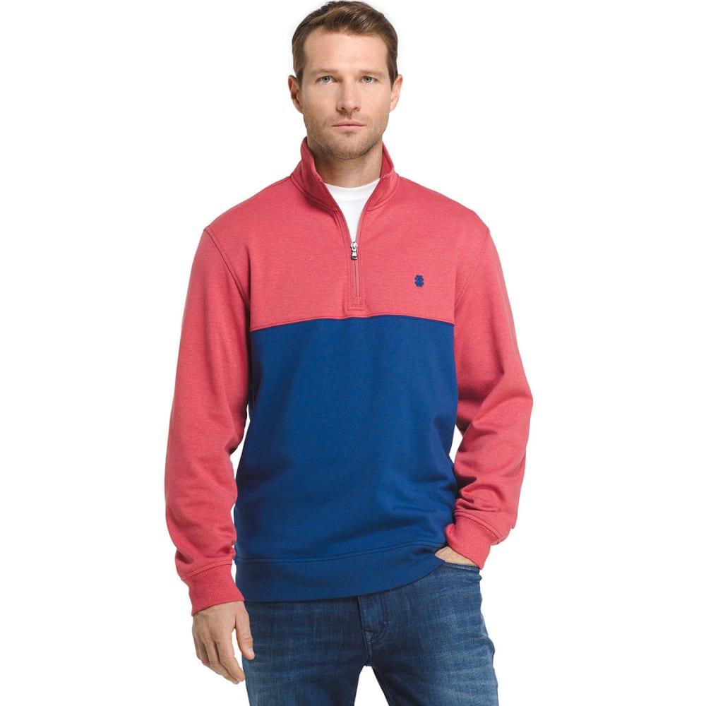 IZOD Men's Advantage Performance Color-Block 1/4 Zip Fleece Pullover - 648-SALTWATER RED