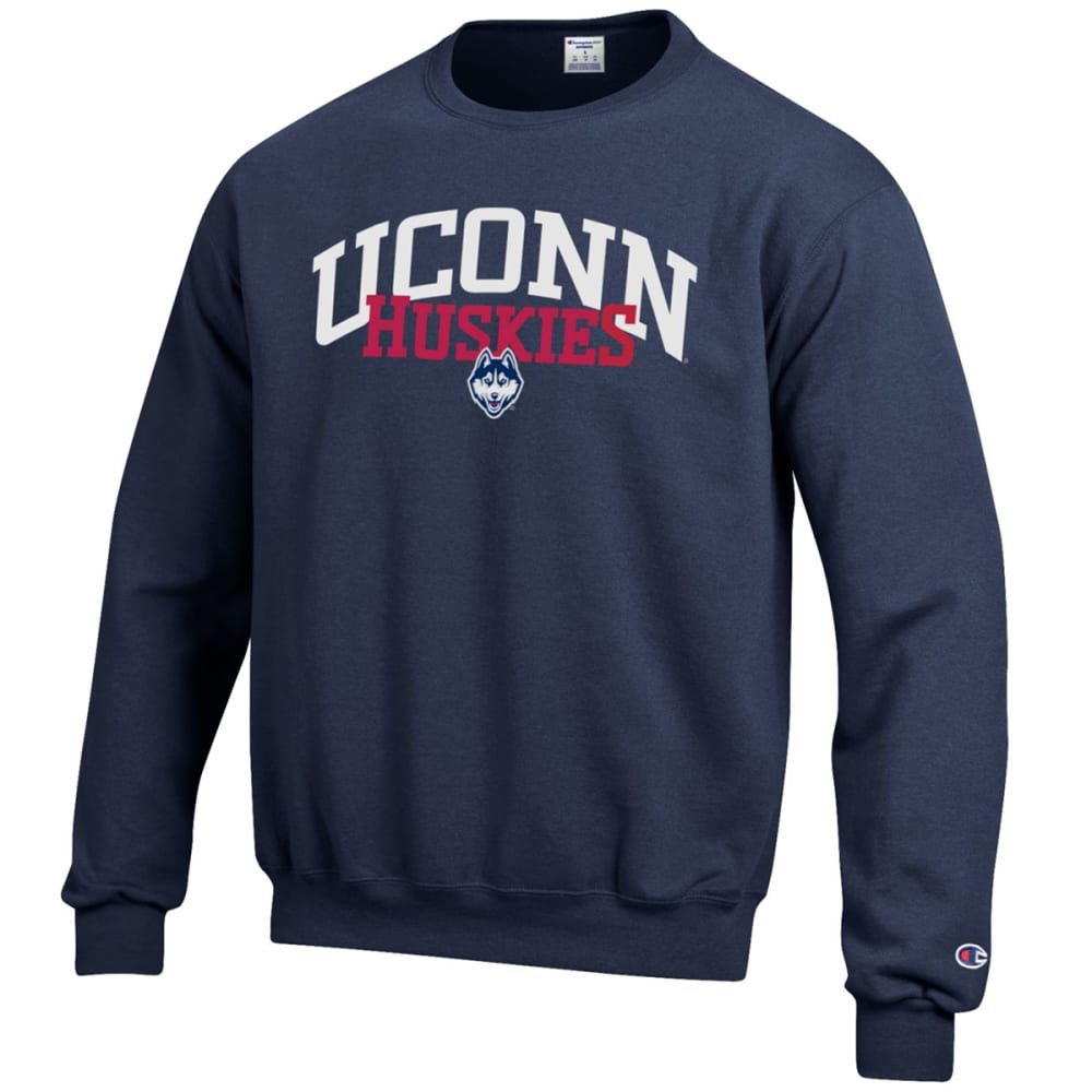 Champion Men's Uconn Eco Powerblend Crew Pullover - Blue, L
