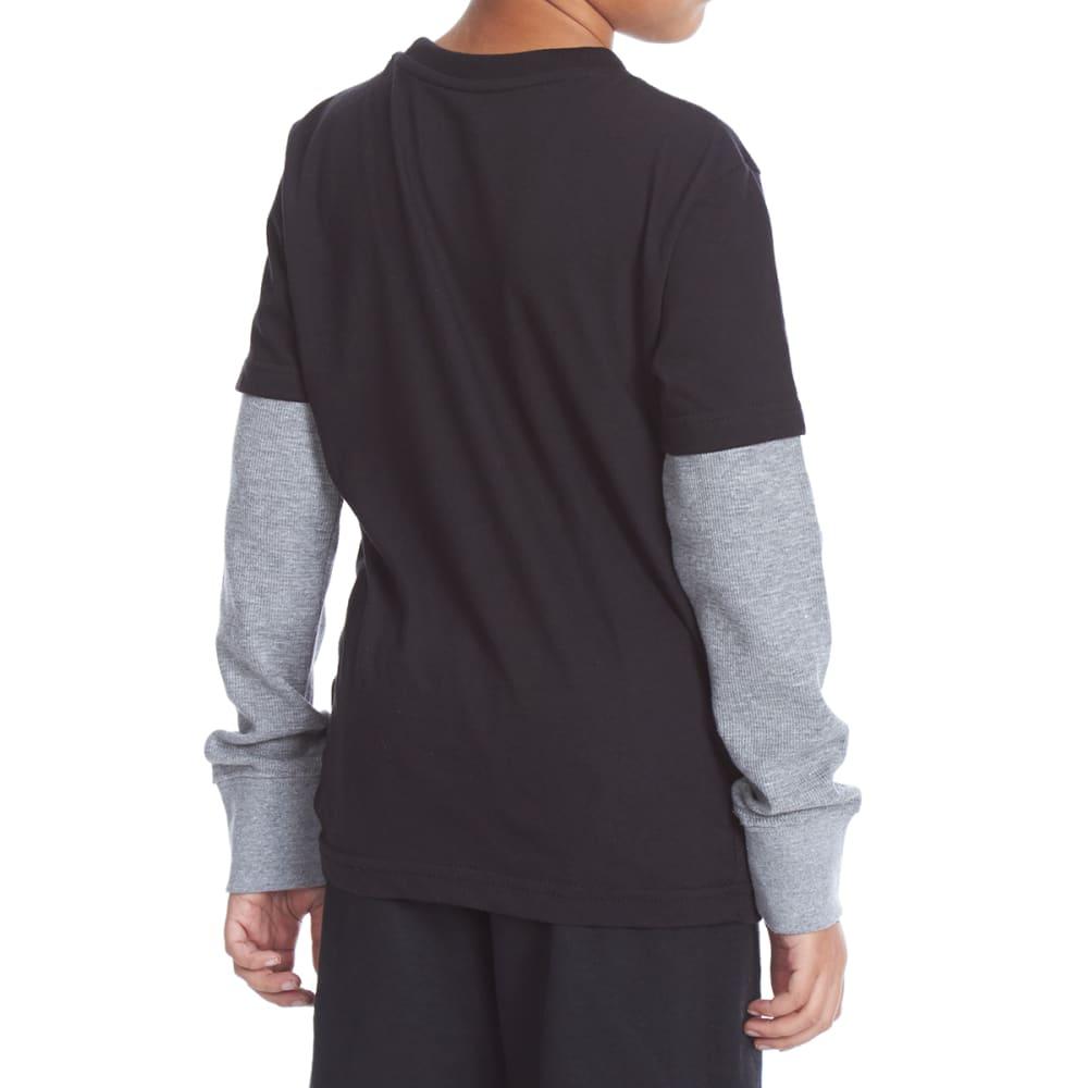 TONY HAWK Big Boys' Graphic Long-Sleeve Tee with Thermal Sleeves - 113-BLK HEATHER