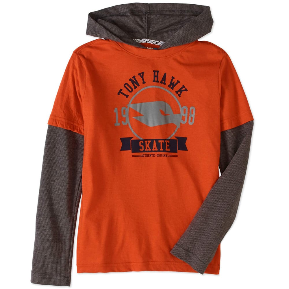TONY HAWK Big Boys' Graphic 2Fer Pullover Hoodie with Thermal Sleeves - 649-RED CLAY
