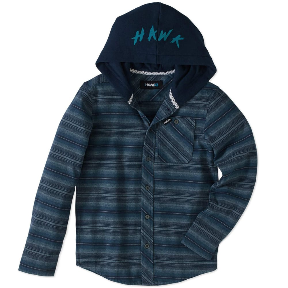 TONY HAWK Big Boys' Flannel Long-Sleeve Shirt with Fleece Hood - 433-TRUE BLUE