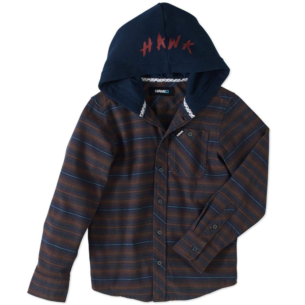 TONY HAWK Big Boys' Flannel Long-Sleeve Shirt with Fleece Hood - 200-BROWN