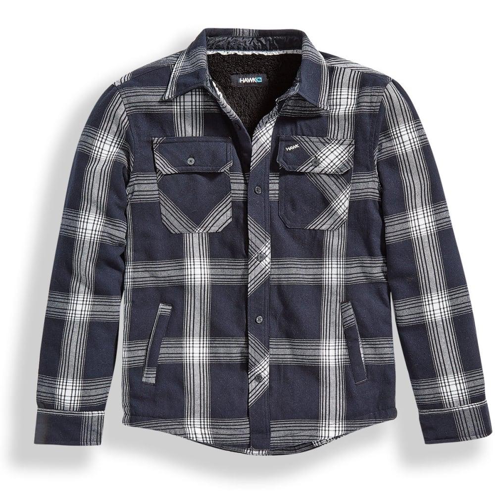 TONY HAWK Big Boys' Flannel Long-Sleeve Shirt with Sherpa Lining - 113-BLK HEATHER