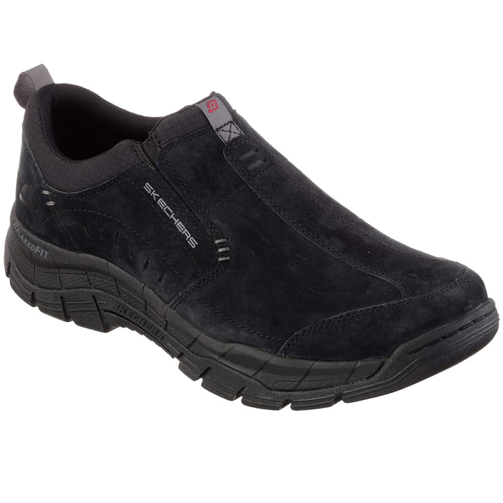 Skechers Men's Relaxed Fit: Rig - Mountain Top Moc Slip-On Casual Shoes - Black, 8.5
