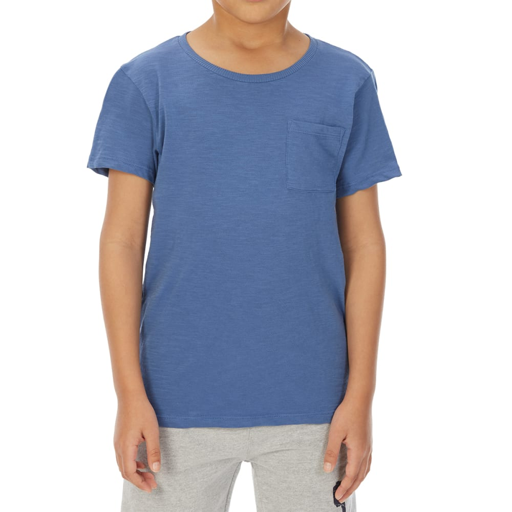 MINOTI Big Boys' Basic Pocket Slub Short-Sleeve Tee - BBS01-DENIM BLUE