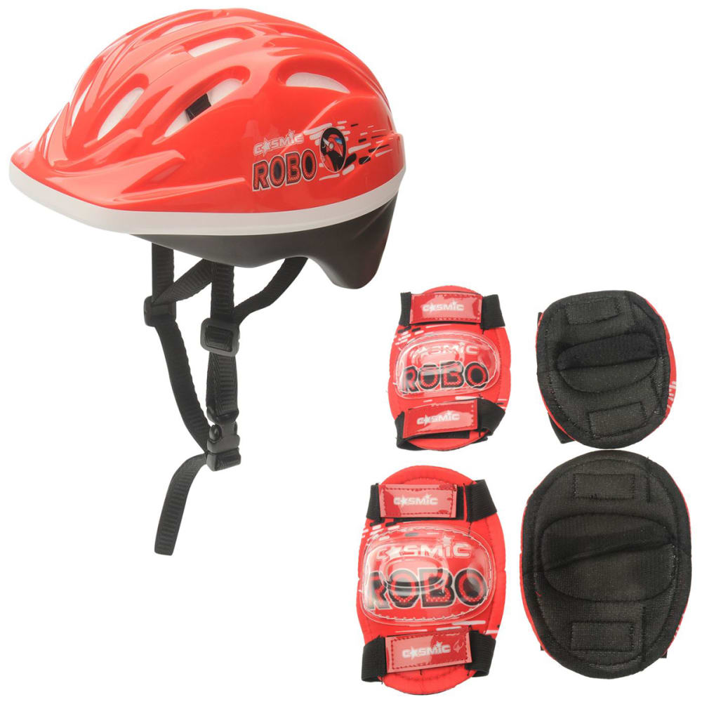 COSMIC Kids' Bike Helmet and Pad Set - RED/BLACK
