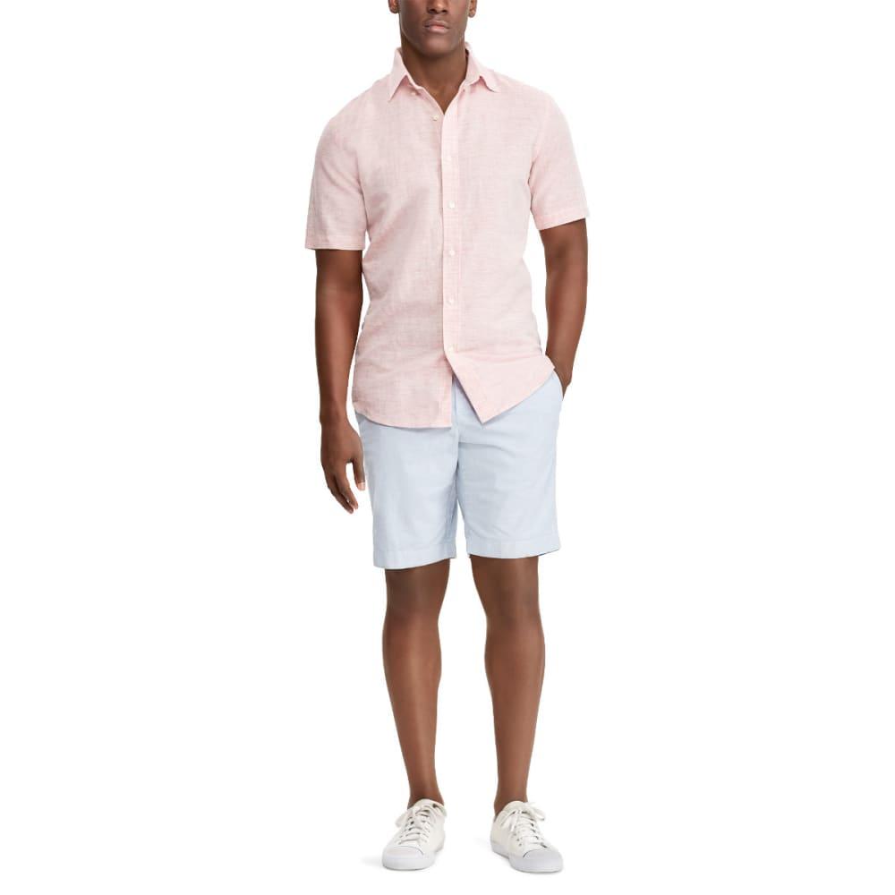 CHAPS Men's Solid Linen Slub Short-Sleeve Shirt - 003-NAVAJO RED MULTI