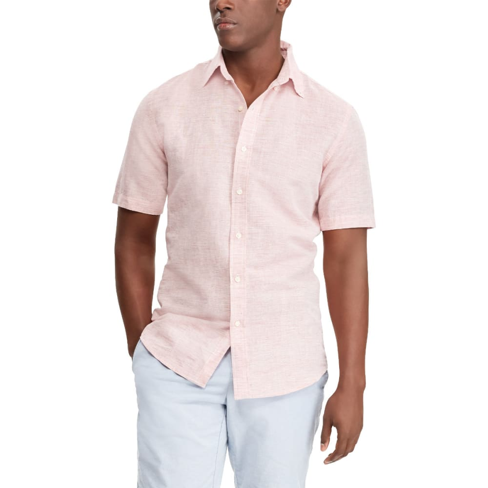 CHAPS Men's Solid Linen Slub Short-Sleeve Shirt M