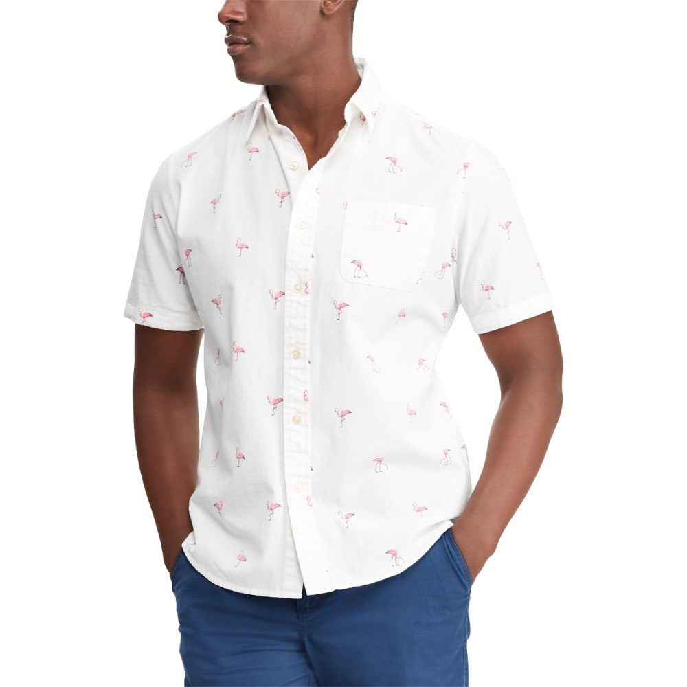 CHAPS Men's Printed Flamingo Sport Short-Sleeve Shirt - 001-WHITE MULTI