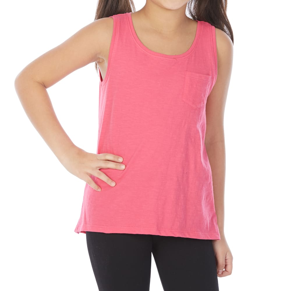 MINOTI Big Girls' Basic Pocket Slub Tank Top - GBS13-HOT PINK