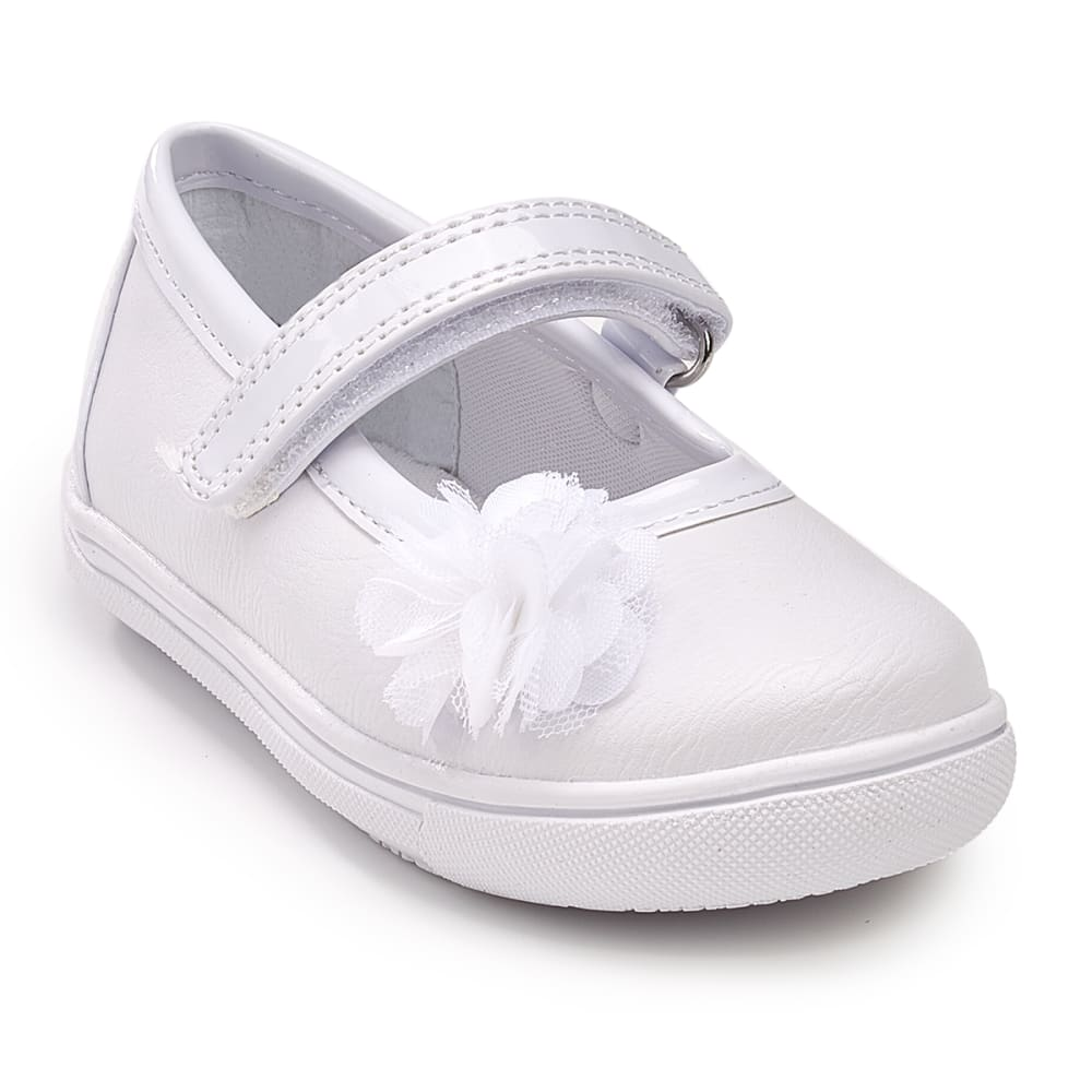 Rachel Shoes Toddler Girls' Giovanna Flower Mary Jane Flats - White, 8