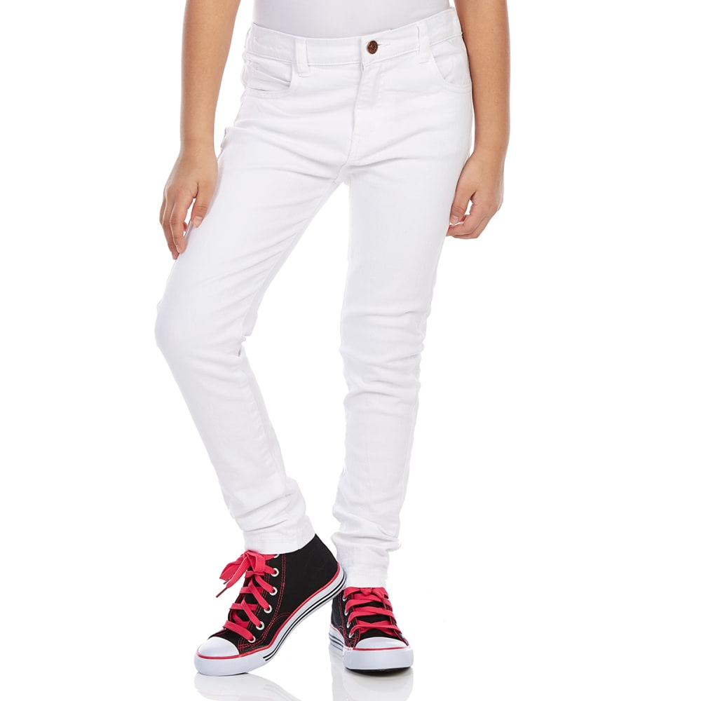 Minoti Girls' Slub Twill Skinny Pants - White, 5-6