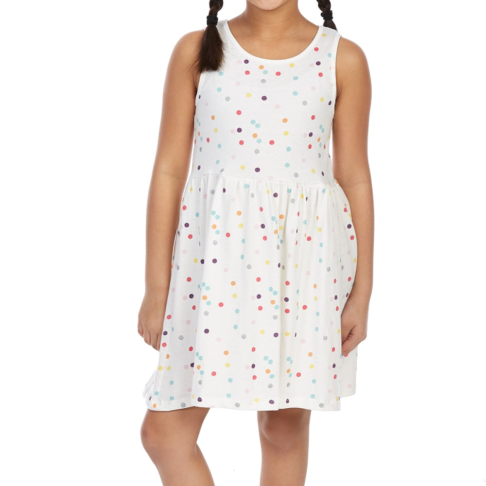 Minoti Big Girls' Printed Dress - White, 3-4