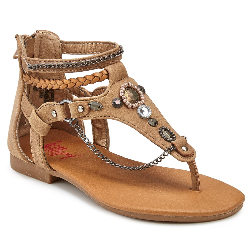 JELLYPOP Girls' Cinema Chain Flat Sandals - SAND