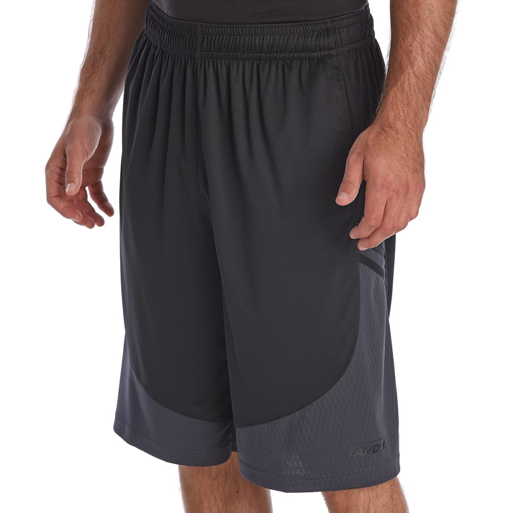 AND1 Men's Playoff Bound Basketball Shorts - BLACK-S143