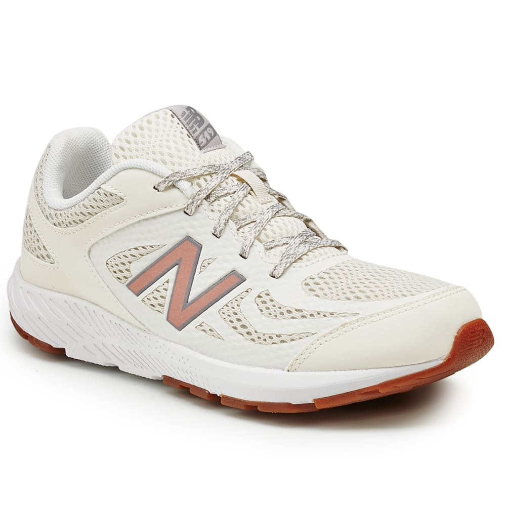 New Balance Big Girls' 519V1 Running Shoes - White, 4