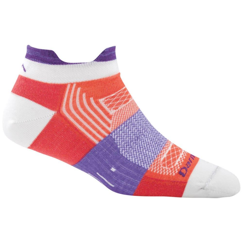 DARN TOUGH Women's Pulse Tab Light Cushion No-Show Socks - CORAL/WHT