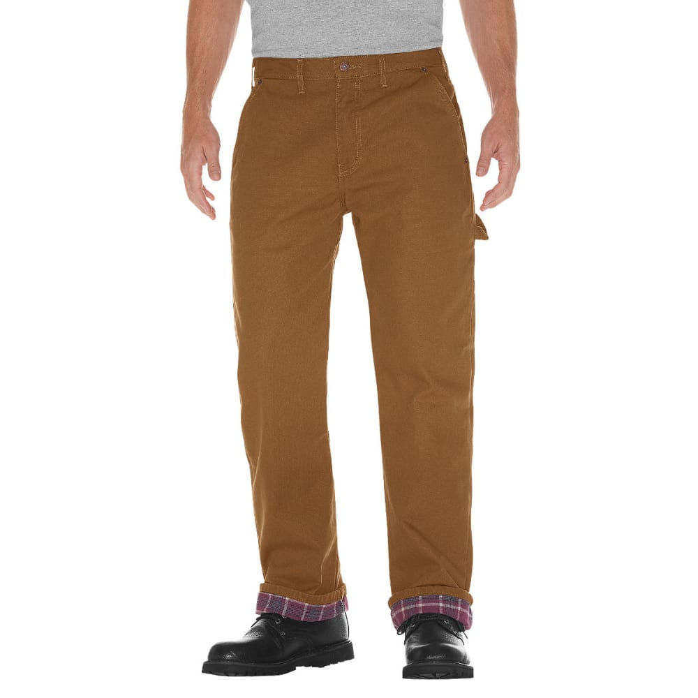 Dickies Men's Relaxed Straight Fit Flannel-Lined Carpenter Duck Jean - Brown, 30/30