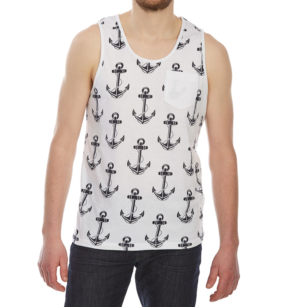 ALPHA BETA Guys' Printed Tank Top - MP23-ANCHORS WHITE