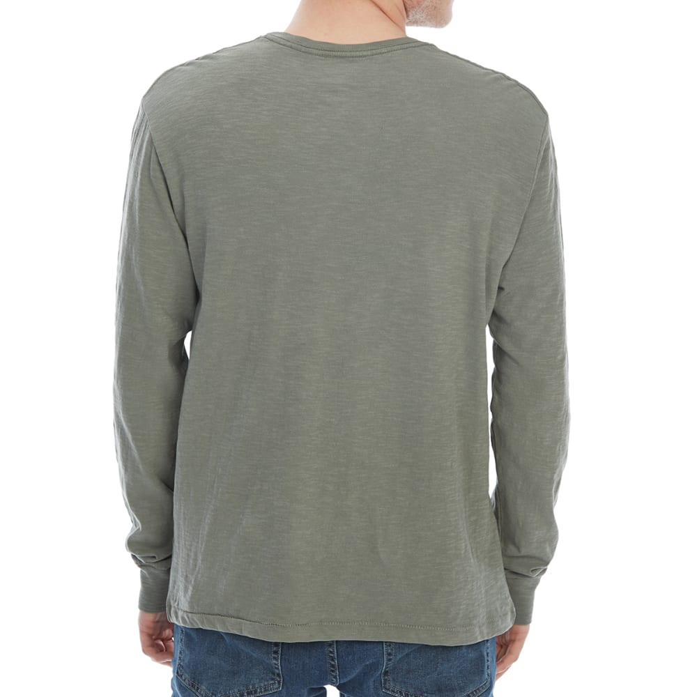 ALPHA BETA Guys' Solid Slub Knit Crew Long-Sleeve Tee - GRAVEL