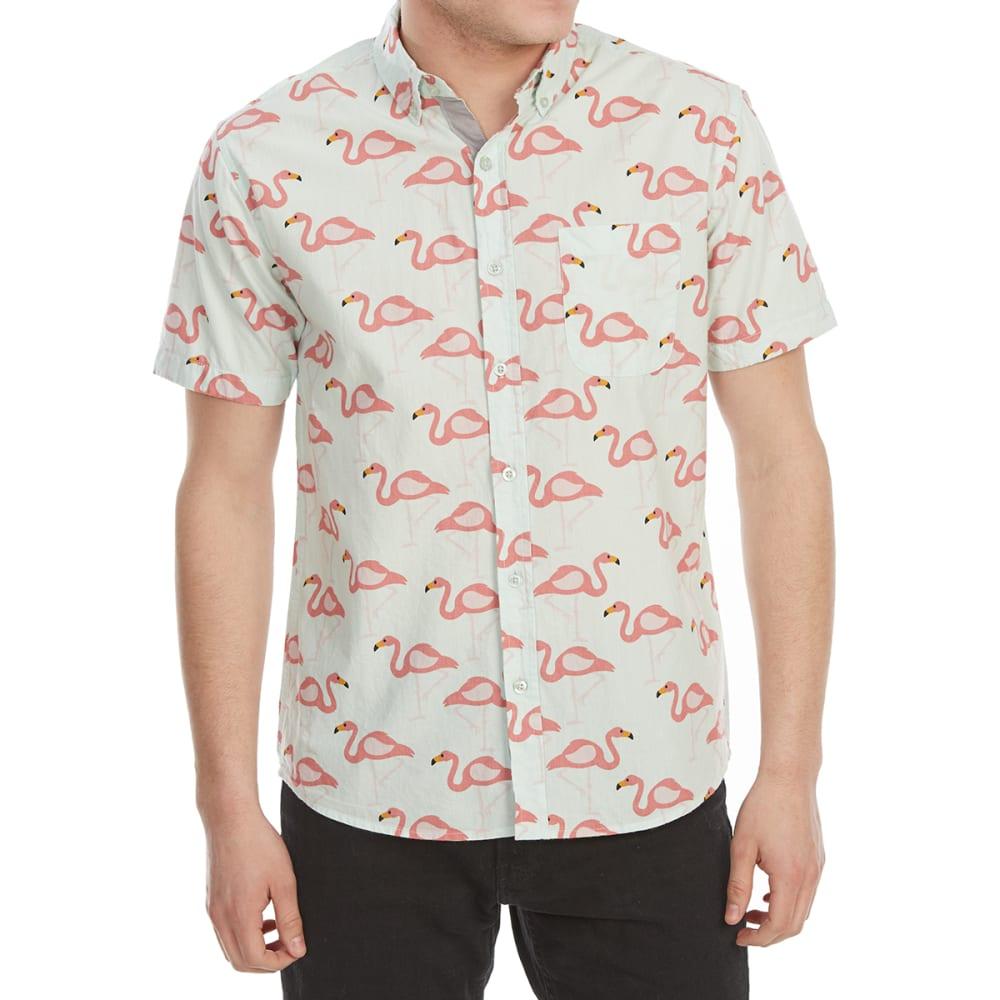 ALPHA BETA Guys' Printed Woven Short-Sleeve Shirt - JP745-FLAMINGOS AQUA