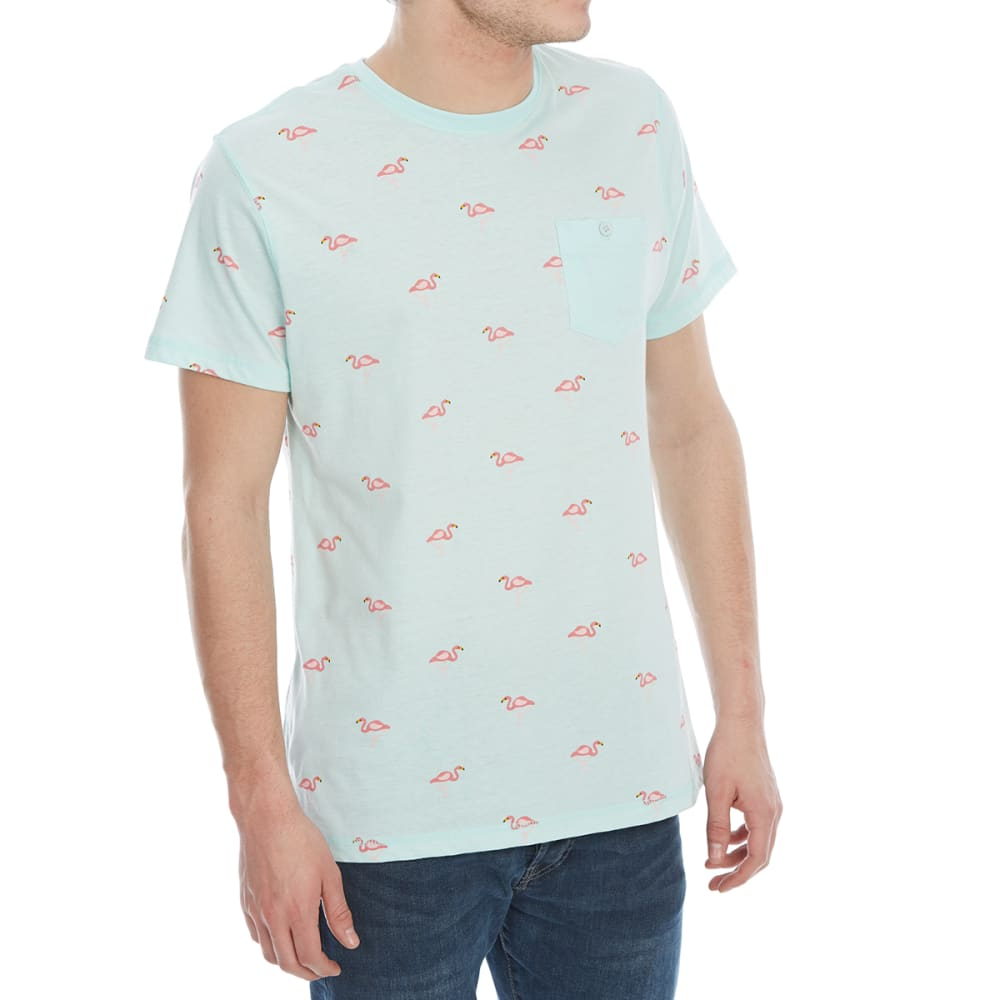 ALPHA BETA Guys' Printed Knit Short-Sleeve Tee - JP525-FLAMINGOS AQUA
