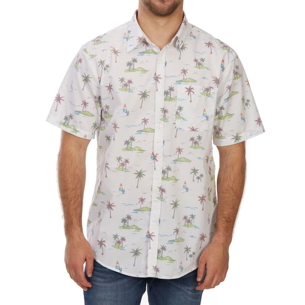 OCEAN CURRENT Guys' Far Away Palm Short-Sleeve Shirt - WHITE