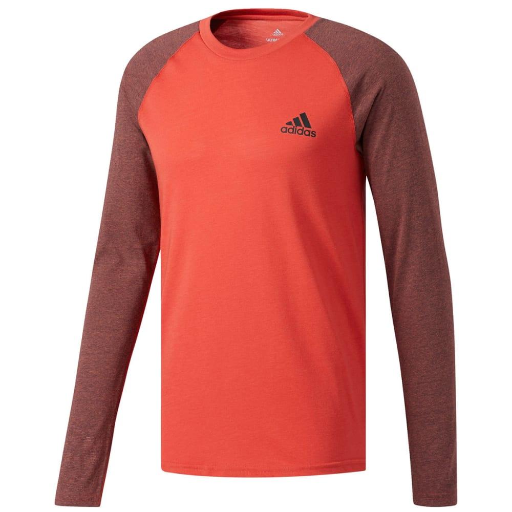 Adidas Men's Utility Raglan Long-Sleeve Tee - Red, M