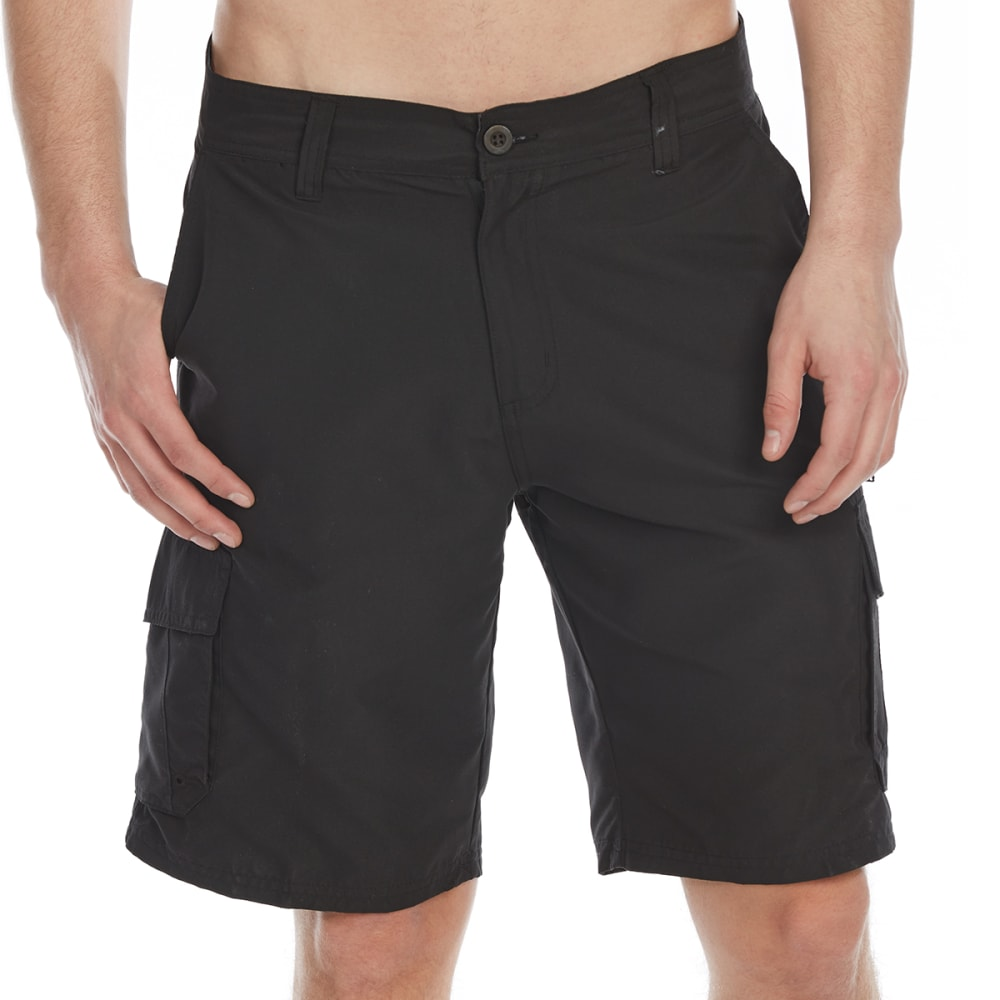 Burnside Guys Microfiber Traveler Solid Cargo Shorts - Black, 30