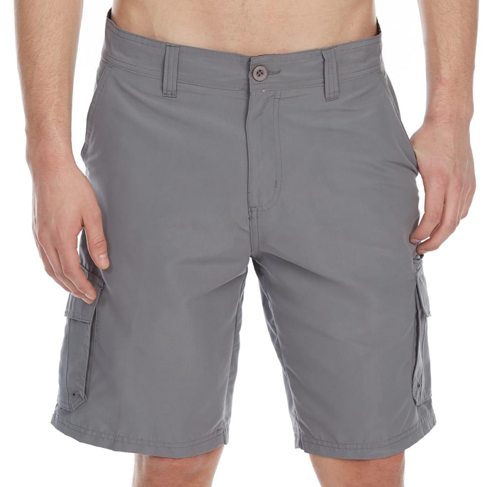BURNSIDE Guys' Microfiber Traveler Solid Cargo Shorts - GREY
