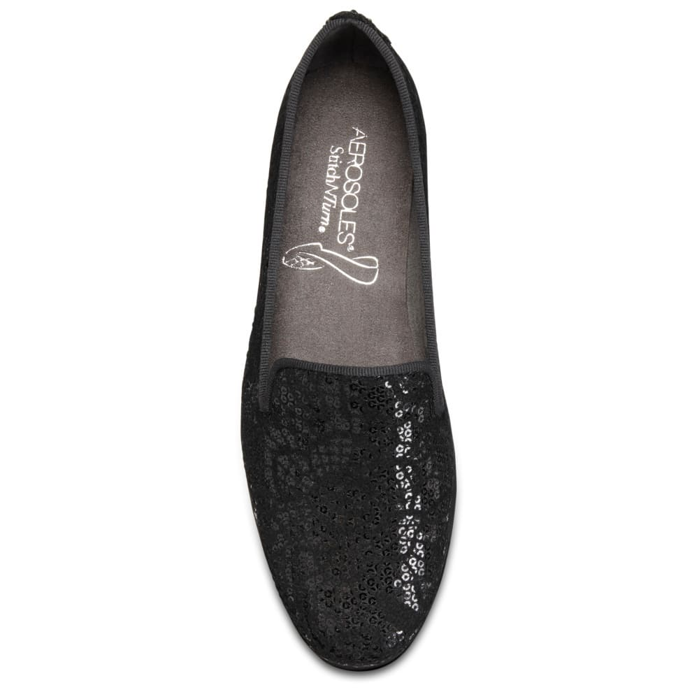 AEROSOLES Women's Betunia Casual Slip-On Shoes, Wide - BLACK VELVET-018