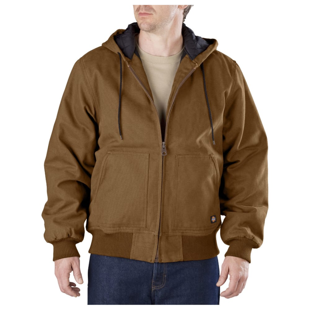 Dickies Men's Sanded Duck Hooded Jacket, Extended Sizes - Brown, XL-TALL