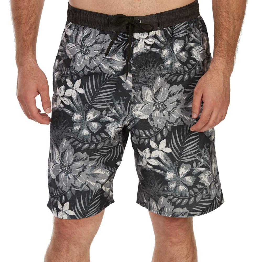 BURNSIDE Guys' All-Over Floral E-Board Shorts - BLACK