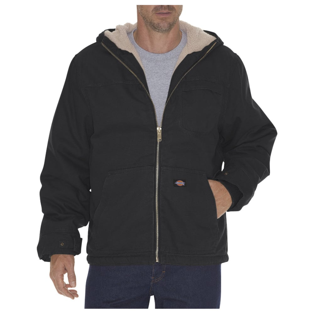 Dickies Men's Sanded Duck Sherpa Lined Hooded Jacket, Extended Sizes - Black, L TALL
