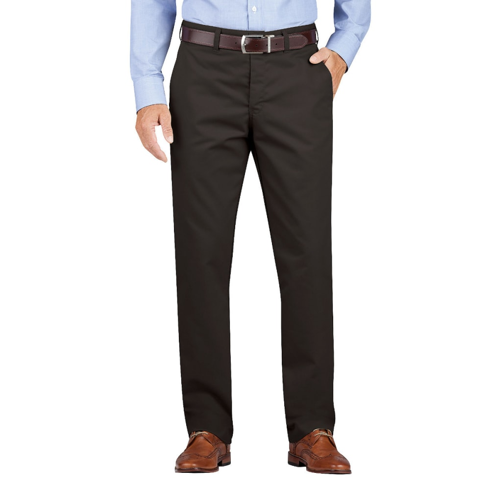 DICKIES Men's Dickies KHAKI Regular Fit Tapered Leg Flat Front Pant - RNSD BLACK-RBK
