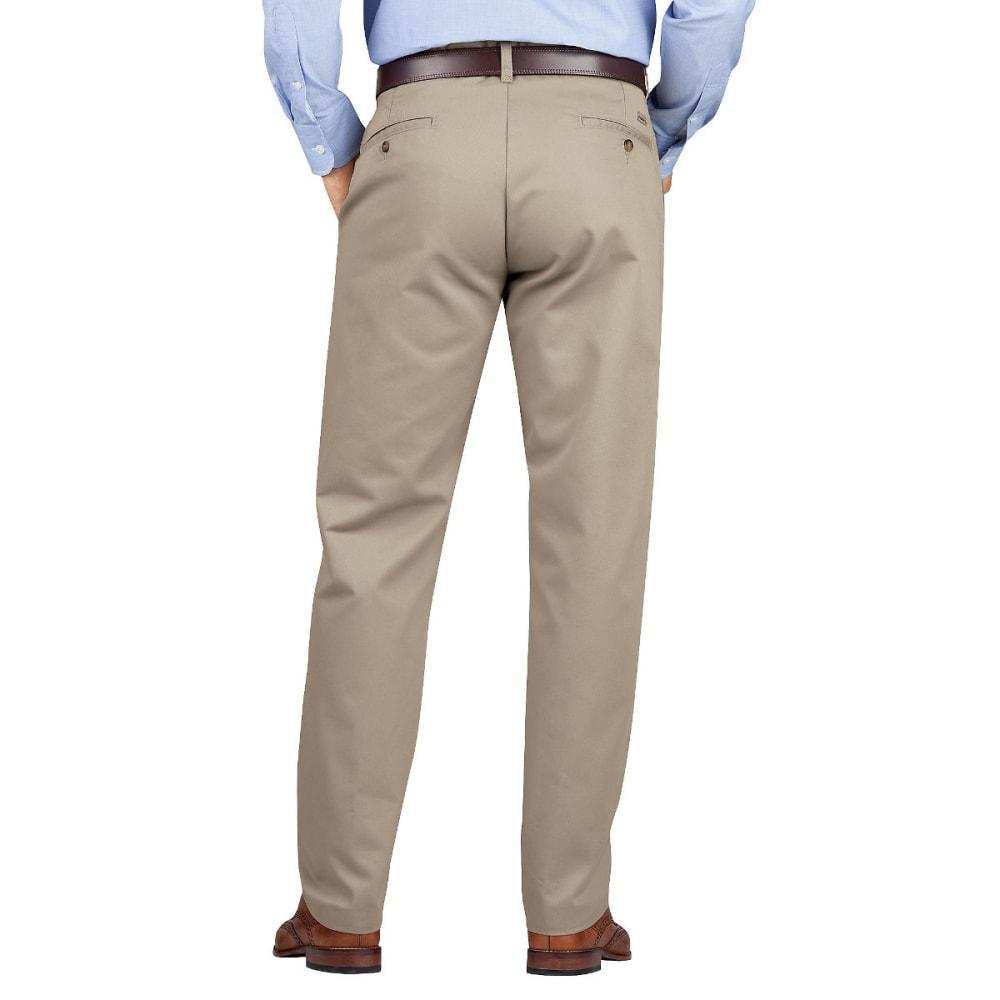DICKIES Men's Dickies KHAKI Regular Fit Tapered Leg Flat Front Pant - RNSD DESERT SAND-RDS