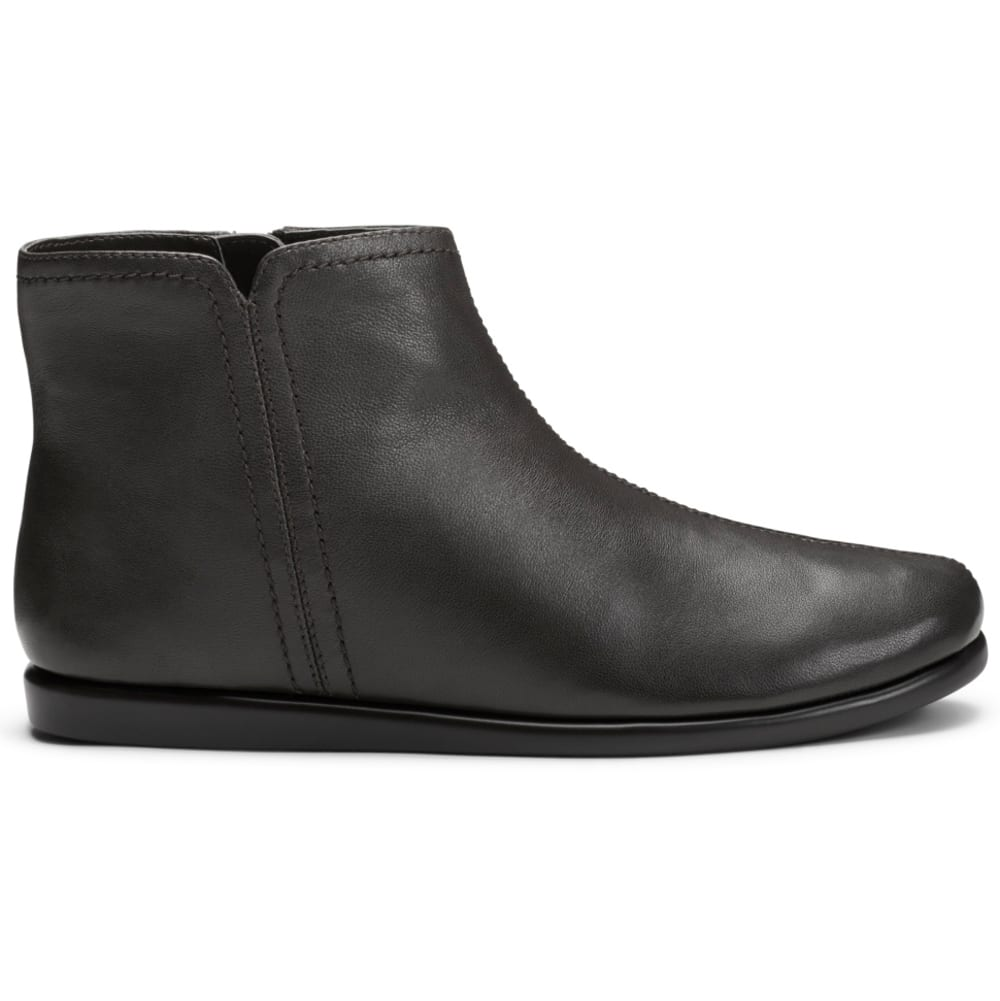 AEROSOLES Women's Willingly Flat Ankle Boots - BLACK LEATHER -002