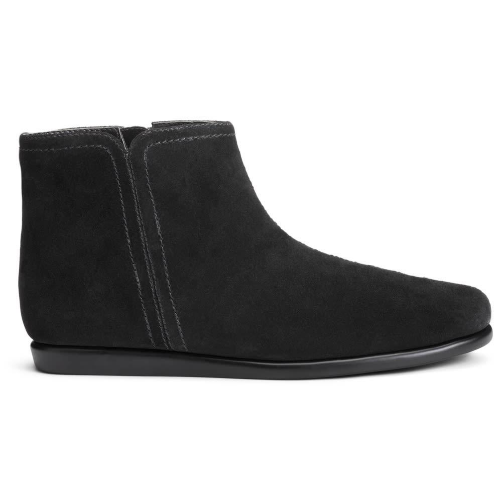 AEROSOLES Women's Willingly Flat Ankle Boots, Wide - BLACK SUEDE-004