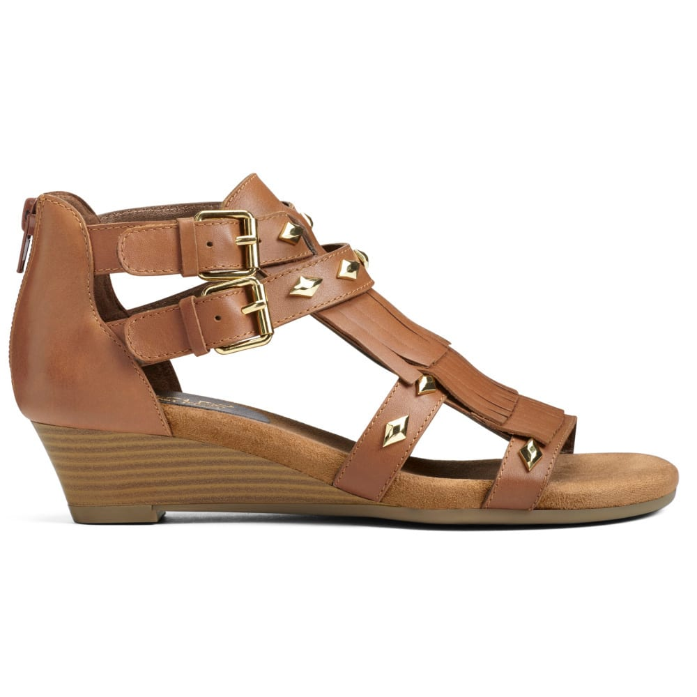 AEROSOLES Women's Yetaphor Wedge Sandals - DK TAN-836