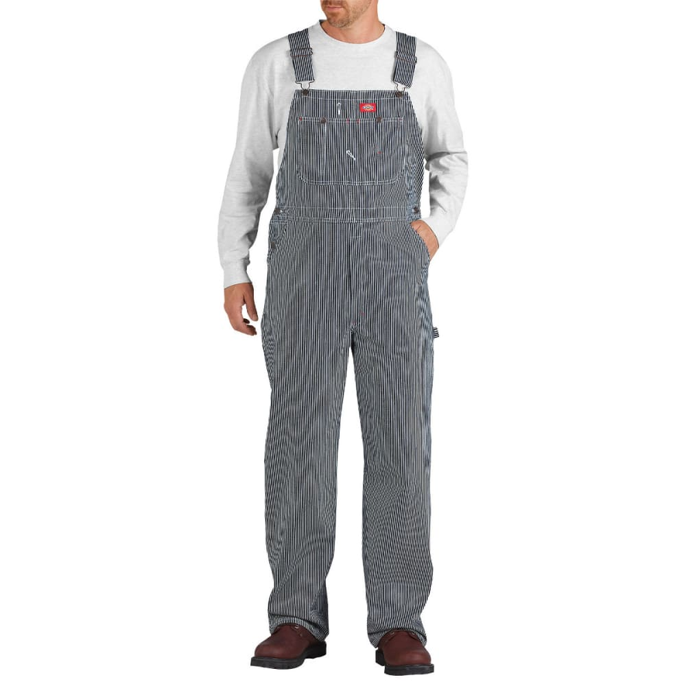 Dickies Men's Striped Bib Overalls, Hickory Stripe, Extended Sizes - Brown, 46/30